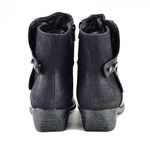 Kick Footwear - Botines Chelsea De Mujer Medio Tacón Alto Nuevo Calzado Casual De Tacones Negros Black