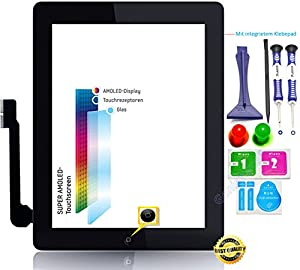 Gforce75® Premium? Komplett Touchscreen Glas Digitizer für Apple iPad 3 Display, Komplett mit Flexkabel, Homebutton - Schwarz inkl. Best NANO Profi 8-in-1 Werkzeugset - SCHWARZ BLACK - NEU
