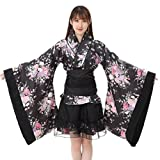 Zarupeng Damen Festival Cosplay Lolita Japan Kimono Maid Outfit Rock Kleid Set (L, Mehrfarbig)