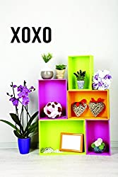 Design with Vinyl Moti 2582 2 Decal - Peel & Stick Wall Sticker : XOXO Holiday Seasonal Text Lettering Quote Color: Black Size 12 Inches x 30 Inches
