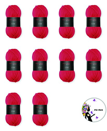 Pro Lana Star - Set di gomitoli di 5, 10, 20o tutti i colori, con spille regalo a scelta, filato finissimo AAA in acrilico di classe extra  Pro Lana Star FarbNr. 30 ROT + 1 x BUTTON Ø57mm