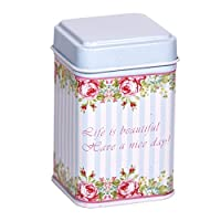 CARMANI - Motif inspiré de la cru roses, Collectibles Mini Métal Bibelot Tobacco Candy Tin Boîte a bijoux Piece de monnaie Thé Conteneur Micro Trésor Boîte de rangement avec des couvercles