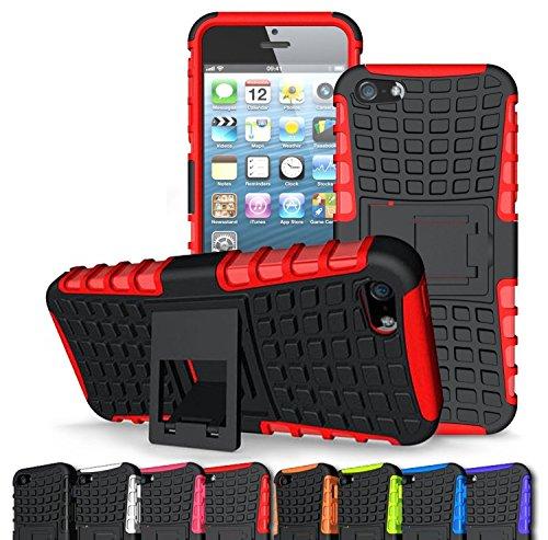 iPhone 5Fall, iPhone 5s Fall, [Drop Widerstand] [Kratzfest] [stoßfest] Weicher Stoßdämpfung TPU Inner Sleeve & Schlagfest Hard Kunststoff Case Back Cover iPhone 5, iPhone 5S, Rot/Schwarz