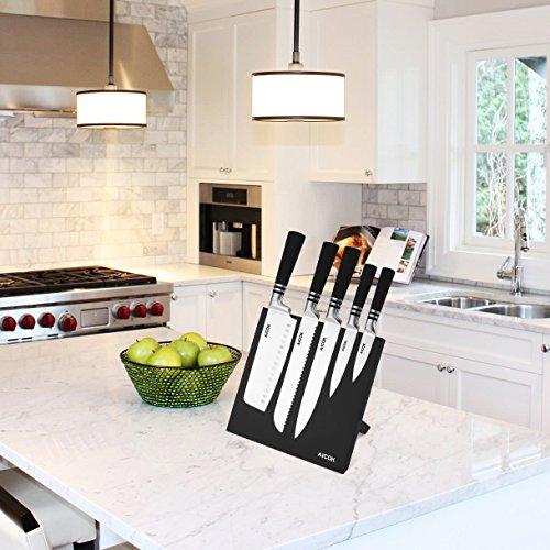 Aicok cuchillos  set de cuchillos de carbono inoxidable alemán. Incluye 5 cuchillos diferentes y un soporte magnético para ellos