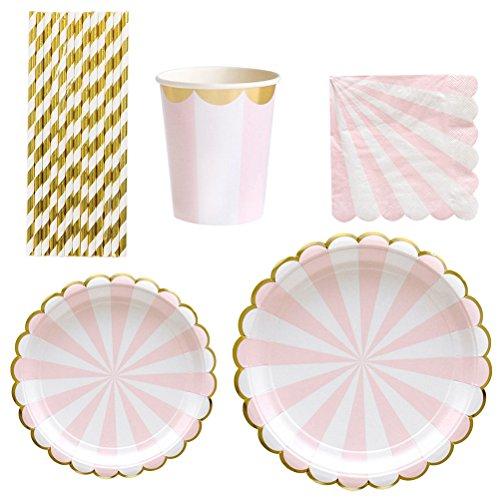 eg Pappteller Papier Abendessen Teller Becher Gold Papier Trinkhalme Set Party Supplies (Rosa) ()