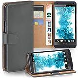 moex HTC One M7 | Hülle Dunkel-Grau mit Karten-Fach 360° Book Klapp-Hülle Handytasche Kunst-Leder Handyhülle für HTC One M7 Case Flip Cover Schutzhülle Tasche