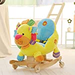 Baby Rocking Horse Wooden 2 In 1 Dual Use With Wheels Lion Rocking Horse For Kid Child Boys And Girls Rocker Seat Plush Animal Music Toy Birthday Gift