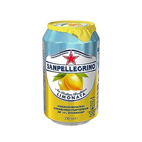 San Pellegrino Limonata Zitronen Limonade (Zitronensaft und Sprudelndes Mineralwasser, Erfrischungsgetränk aus Italien, Einweg Limo Dosen) 24er Pack (24 x 0,33 Liter)