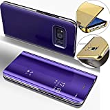 COTDINFOR Mirror Makeup Case For Samsung S6 Luxury Slim View Standing Cover Bright