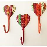 Pape Kunstgewerbe 3 Wandhaken Buntes Herz aus Metall Handbemalt 13 x 7 cm. Kleiderhaken Kinderzimmer Garderobe