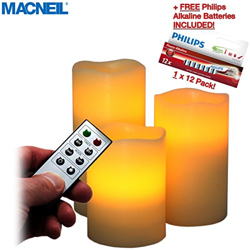 MACNEIL Pack of 3 Battery Operated Remote Control LED Flameless Flickering Wax Drip Effect LED Candles - Perfect for Creating a Special Ambiance at Home - Soothing, Romantic and Enchanting - Complete with 2 Year Guarantee! -