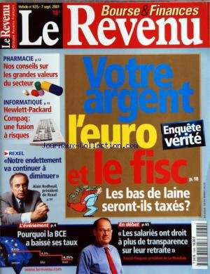 REVENU (LE) [No 635] du 07/09/2001 - VOTRE ARGENT - L'EURO ET LE FISC - ENQUETE VERITE - PHARMACIE - LES GRANDES VALEURS - INFORMATIQUE - HEWLETT-PACKARD COMPAQ - UNE FUSION A RISQUES - REXEL - NOTRE ENDETTEMENT VA CONTINUER A DIMINUER - ALAIN REDHEUIL - POURQUOI LA BCE A BAISSE SES TAUX - LES SALARIES ONT DROIT A PLUS DE TRANSPARENCE SUR LEUR RETRAITE - PATRICK PEUGEOT par Collectif