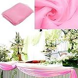 BITFLY 5M x 1.35M Sheer Organza Swag DIY Tela de la boda de la tapa de la tabla de eventos Decoración Partido Escalera arco Valance tabla falda - 30 colores disponibles Rosa claro