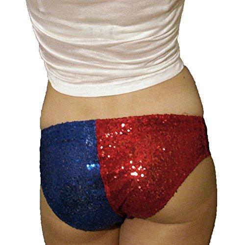 Shorts mit Pailletten Rot und Blau Gr. Medium, rot / weiß
