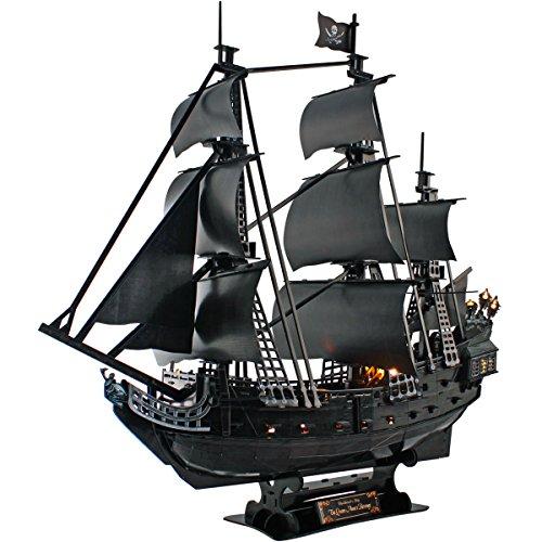 CubicFun 3D Puzzle Queen Anne's Revenge Piratenschiff Modellbausatz (mit LEDs) , Große 340 Teile— L520h