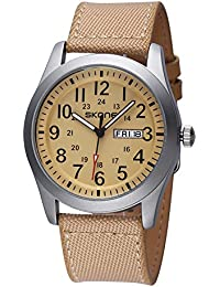SKONE Quartz Mens Womens Watch with Canvas PU Strap Date Week Number Scale (Yellow)