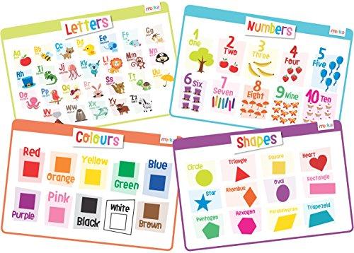 4 Stück Lehrreich Platzsets für Kinder - Tischset, Abwaschbar Platzdeckchen für Zuhause … (Vorschule)