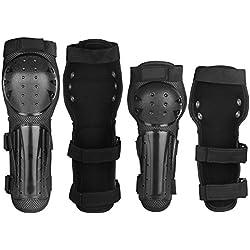 Yodensity Kit De Protection Adulte 2 Coudières + 2 Genouillères Équipement De Sécurité Protecteur Pour Moto Cross Cyclisme Patinage Skateboard Sport En Plein Air