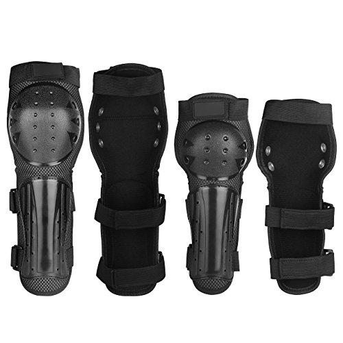 Yodensity 4 Pcs Set Motorrad Knieschoner + Ellbogenschoner mit Bandage Klettverschluss PE-Kunststoffschale Beschützer für Radfahren Skating Snowboarden