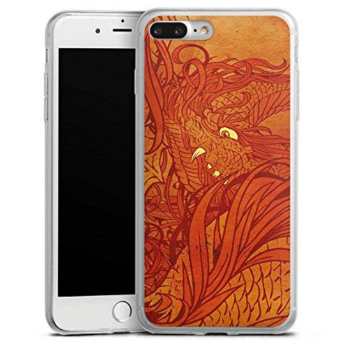 Apple iPhone 8 Plus Slim Case Silikon Hülle Schutzhülle Muster Orange Rot Silikon Slim Case transparent