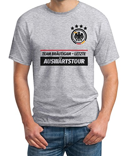 JGA Tshirt Junggesellenabschied Team Bräutigam Letzte Auswärtstour T-Shirt X-Large Grau (Das A Team Kostüme Ideen)