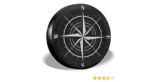 Y Z L Reserveradabdeckung Kompass Windrose Schwarz Weiß Universal Reserverad Ersatzradabdeckung Für Anhänger Rv Suv 14 17in Auto