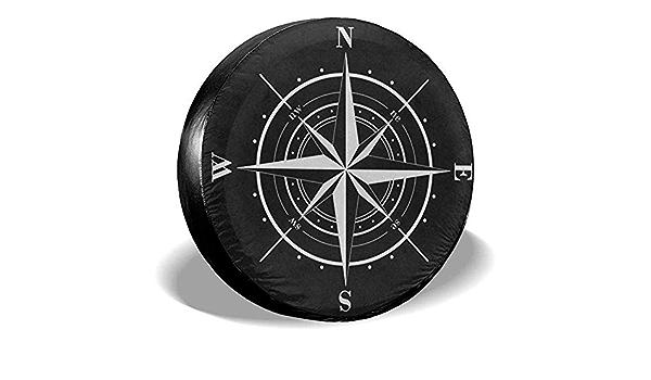 ulxjll Copri Gomme Bussola Rosa dei Venti Copriruota di Scorta Bianco Nero Copertura Ruote Adatta per Rimorchio SUV RV Ruota per Molti Veicoli 14