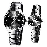 Orologio da uomo con doppio calendario luminoso, orologio da uomo IP67 impermeabile, cinturino in acciaio al quarzo analogico, orologio da donna, due carichi (Color : Black)