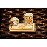 Rajasthali Craft Trade Marble Pen Stand With Clock