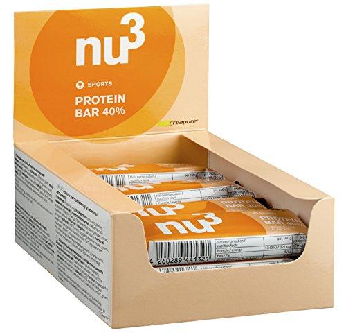 nu3 Protein Bar 40% Schoko-Geschmack, High Protein-Riegel, 12 x 50 g - Leckere Eiweiß-Riegel mit 20g Milch- und Whey-Protein und nur 0,8g Zucker je Riegel