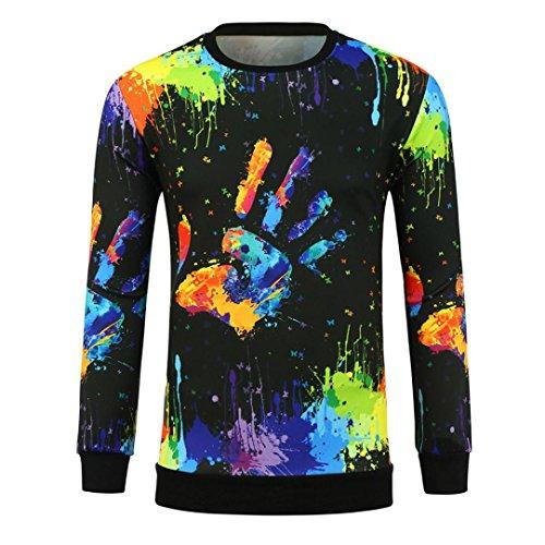 Herren Langarm gedruckt Brief Pullover Sweatshirt Top T Bluse By Dragon (Mehrfarbig, M) (Gefüttert-print-rock)