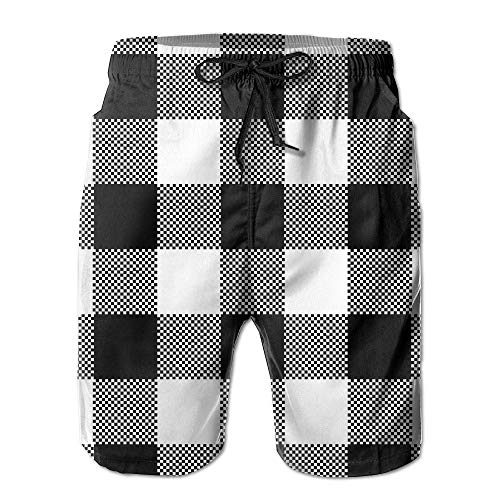 Jocper Black White Plaid Men's Summer Summer Beach Pants Quick Dry Swim Trunks XX-Large -