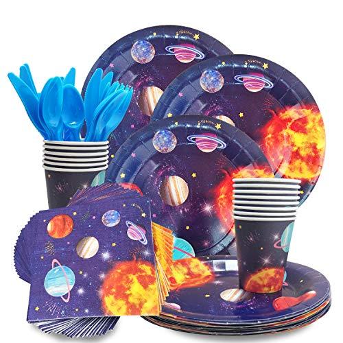 HANGNUO Weltraum Planeten Motto Einweg Geschirr Set - Dient 16 - inklusive Kunststoff Messer, Löffel, Gabeln, Pappteller, Servietten, Tassen für Weltraum-Fans Kinder Geburtstag Party zubehör - Kunststoff-löffel-gabel-messer-set