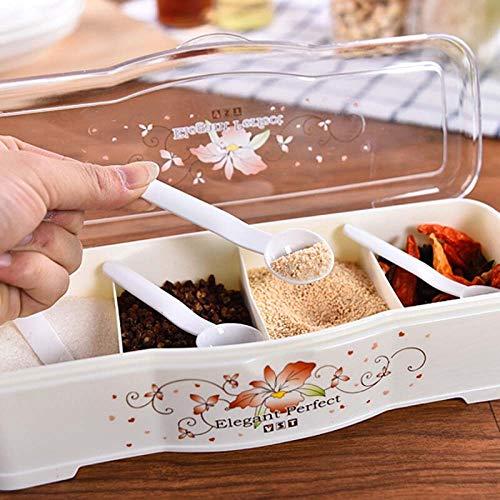 Haushalts-Kunststoff-Kombination Set Gewürzkasten Küchenbedarf Mit Deckel Gewürz Salzstreuer Manuelle Gewürz Aufbewahrungsbox