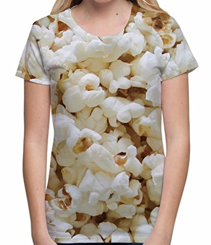 Popcorn Design All Over Sublimation Print Fun Cinema Treat Unisex Womens T Shirt - M (Gestreifter Shirt Kostüm)