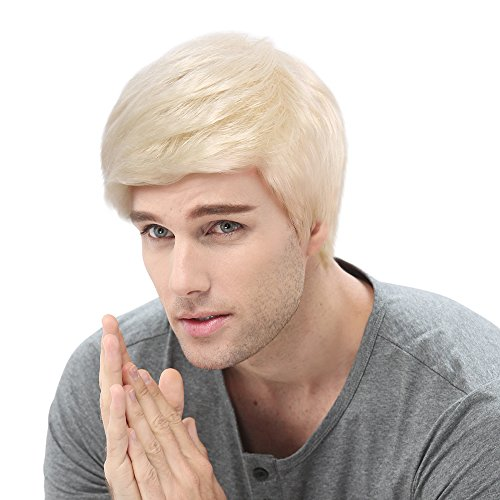 Anime-puppen Japanische (Herren Stecker Guy Perücke blond wellig Kurz Halloween Cosplay Party Haar Toupets 30,5 cm)