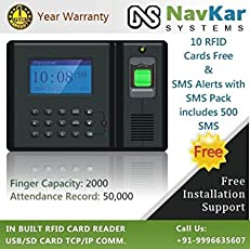 NAVKAR Biometric RFID Card Based Attendance Machine to send SMS Alerts with SMS Pack