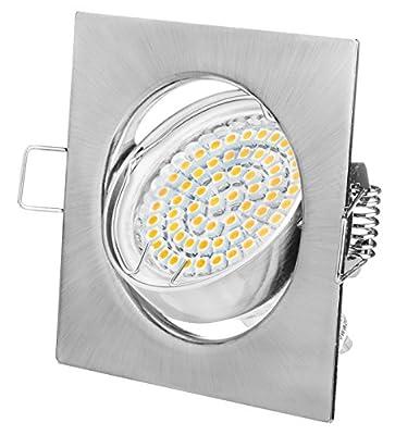 Einbaustrahler LED Eckig GU10 3W Warmweiß 230V Chrom Gebürstet Rahmen Einbauspots Einbaulampen Einbauleuchten als Set, 10er Pack