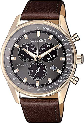 Citizen Herren Chronograph Quarz Uhr mit Leder Armband AT2393-17H