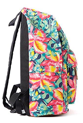 Keshi Leinwand Cool Schulrucksäcke/Rucksack Damen/Mädchen Vintage Schule Rucksäcke mit Moderner Streifen für Teens Jungen Studenten Grün