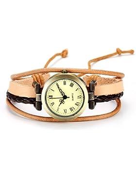 JSDDE Uhren,Vintage Damen Armbanduhr Bronze Damenuhr Gewebte Wickelarmband Lederarmband Analog Quarz Uhr,Kamel...