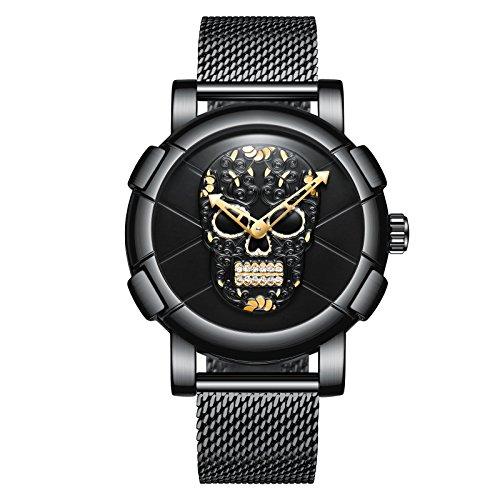 Uhren, Herrenuhren Cool Schwarz Analog Quartz Kreatives Schädel-Muster Punk-Stil Luxusuhr Designer Uhren Edelstahl Mesh Band Militär Vintage-Stil