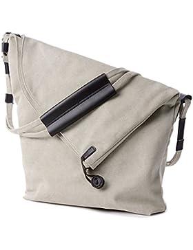 Oriskey Unisex Damen Canvas Schultasche Handtasche Umhängetasche Tasche Messenger Bag Shopper Schultertasche
