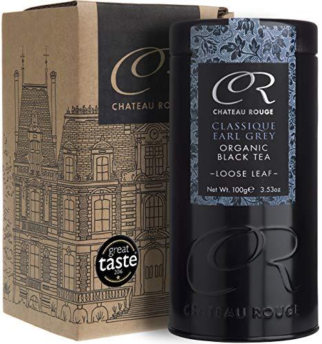 Klassischer BIO Earl Grey, Schwarzer Tee mit Bergamotte, ganzes Blatt, 100g Teedose Luxus
