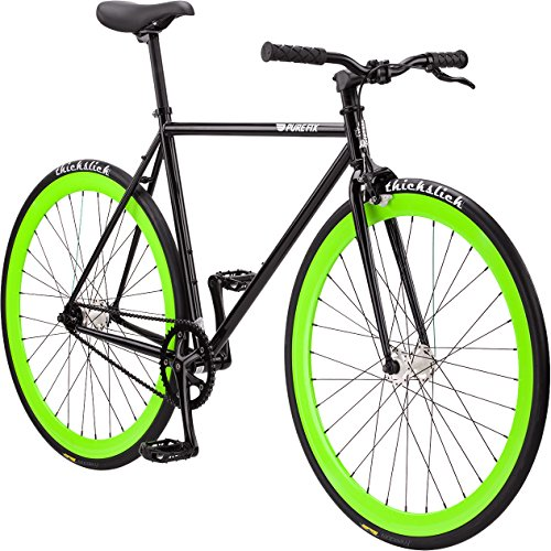 Pure Fix Cycles Erwachsene Fixie The Hotel-Fixed Gear Fahrrad Felgen Leuchten im Dunkeln mit einem Gang, Schwarz/Glow Green, 54 cm, Hot-Black-M