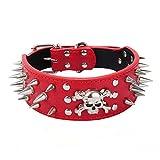 Dogs Kingdom Punck Stil Pet Halsband Totenkopf Hundehalsband PU Leder Pet Halsband Schwarz