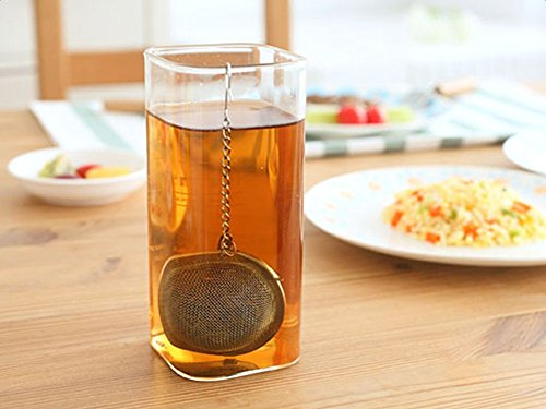 Wicemoon 2x Edelstahl Tee Filter Gewürz Tee Sieb Mesh Filter mit Kette Leben Waren,Silber
