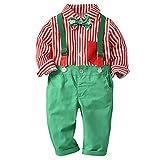 Riou Weihnachten Baby Kleidung Set Kinder Pullover Familie Pyjama Outfit Baby Jungen Gentleman Bow Hosenträger Strap Hosen + Shirt Ausstattungs Set (80, Grün)