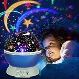 Lámpara de Proyector, omitium Lámpara de Noche Lámparas Infantiles Estrella Luces navidad 360 Grados Rotación Proyector de 3 Modos de luz Nocturna para Niños, Dormitorio, Decoración Casa (Azul)