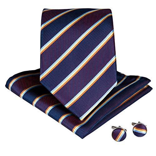 KYDCB Neue Lila Gelb Krawatte Für Männer 100% Seide Gestreifte Krawattenklammer Einstecktuch Manschettenknöpfe Männer Krawatte Hochzeit Business Krawatten Set - Gestreifte Neue Seide Krawatte